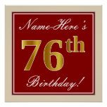 [ Thumbnail: Elegant, Red, Faux Gold 76th Birthday; Custom Name Poster ]