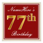 [ Thumbnail: Elegant, Red, Faux Gold 77th Birthday; Custom Name Invitation ]