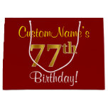 [ Thumbnail: Elegant, Red, Faux Gold 77th Birthday; Custom Name Gift Bag ]