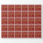 [ Thumbnail: Elegant, Red, Faux Gold 77th Birthday; Custom Name Wrapping Paper ]