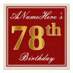 [ Thumbnail: Elegant, Red, Faux Gold 78th Birthday; Custom Name Invitation ]