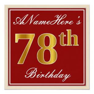 Elegant Red Faux Gold 78th Birthday Custom Name Invitation
