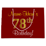 [ Thumbnail: Elegant, Red, Faux Gold 78th Birthday; Custom Name Gift Bag ]