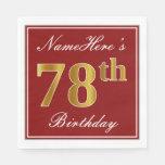 [ Thumbnail: Elegant Red, Faux Gold 78th Birthday + Custom Name Paper Napkin ]