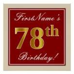 [ Thumbnail: Elegant, Red, Faux Gold 78th Birthday; Custom Name Poster ]