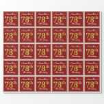 [ Thumbnail: Elegant, Red, Faux Gold 78th Birthday; Custom Name Wrapping Paper ]