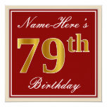 [ Thumbnail: Elegant, Red, Faux Gold 79th Birthday; Custom Name Invitation ]