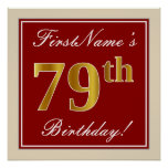 [ Thumbnail: Elegant, Red, Faux Gold 79th Birthday; Custom Name Poster ]
