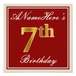 [ Thumbnail: Elegant, Red, Faux Gold 7th Birthday + Custom Name Invitation ]