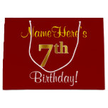[ Thumbnail: Elegant, Red, Faux Gold 7th Birthday + Custom Name Gift Bag ]