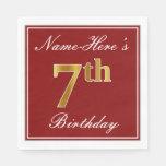 [ Thumbnail: Elegant Red, Faux Gold 7th Birthday + Custom Name Napkin ]