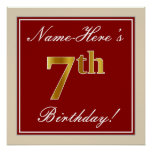 [ Thumbnail: Elegant, Red, Faux Gold 7th Birthday + Custom Name Poster ]