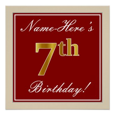 Art Themed Elegant, Red, Faux Gold 7th Birthday   Custom Name Poster