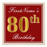 [ Thumbnail: Elegant, Red, Faux Gold 80th Birthday; Custom Name Invitation ]