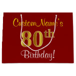 [ Thumbnail: Elegant, Red, Faux Gold 80th Birthday; Custom Name Gift Bag ]