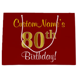 Elegant Red Faux Gold 80th Birthday Custom Name Large Gift Bag