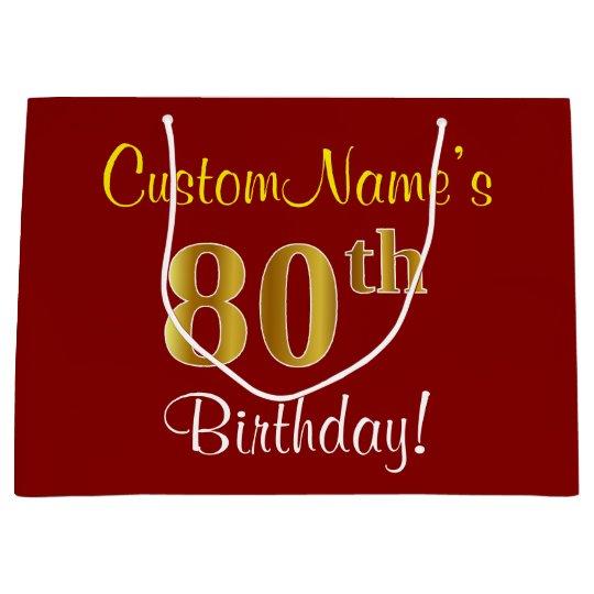 Elegant Red Faux Gold 80th Birthday Custom Name Large Gift Bag