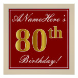 [ Thumbnail: Elegant, Red, Faux Gold 80th Birthday; Custom Name Poster ]