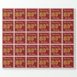 [ Thumbnail: Elegant, Red, Faux Gold 80th Birthday; Custom Name Wrapping Paper ]