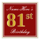[ Thumbnail: Elegant, Red, Faux Gold 81st Birthday; Custom Name Invitation ]