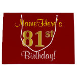 [ Thumbnail: Elegant, Red, Faux Gold 81st Birthday; Custom Name Gift Bag ]