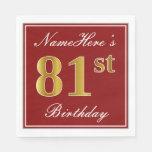 [ Thumbnail: Elegant Red, Faux Gold 81st Birthday + Custom Name Paper Napkin ]