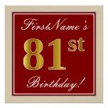 [ Thumbnail: Elegant, Red, Faux Gold 81st Birthday; Custom Name Poster ]