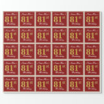 [ Thumbnail: Elegant, Red, Faux Gold 81st Birthday; Custom Name Wrapping Paper ]