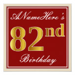 [ Thumbnail: Elegant, Red, Faux Gold 82nd Birthday; Custom Name Invitation ]
