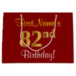 [ Thumbnail: Elegant, Red, Faux Gold 82nd Birthday; Custom Name Gift Bag ]