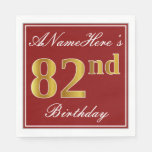 [ Thumbnail: Elegant Red, Faux Gold 82nd Birthday + Custom Name Paper Napkin ]