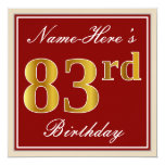 [ Thumbnail: Elegant, Red, Faux Gold 83rd Birthday; Custom Name Invitation ]