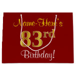 [ Thumbnail: Elegant, Red, Faux Gold 83rd Birthday; Custom Name Gift Bag ]