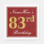 [ Thumbnail: Elegant Red, Faux Gold 83rd Birthday + Custom Name Paper Napkin ]
