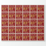 [ Thumbnail: Elegant, Red, Faux Gold 83rd Birthday; Custom Name Wrapping Paper ]