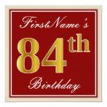 [ Thumbnail: Elegant, Red, Faux Gold 84th Birthday; Custom Name Invitation ]