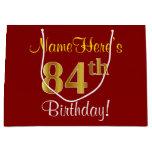[ Thumbnail: Elegant, Red, Faux Gold 84th Birthday; Custom Name Gift Bag ]