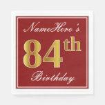 [ Thumbnail: Elegant Red, Faux Gold 84th Birthday + Custom Name Paper Napkin ]