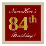 [ Thumbnail: Elegant, Red, Faux Gold 84th Birthday; Custom Name Poster ]