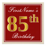 [ Thumbnail: Elegant, Red, Faux Gold 85th Birthday; Custom Name Invitation ]