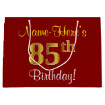[ Thumbnail: Elegant, Red, Faux Gold 85th Birthday; Custom Name Gift Bag ]
