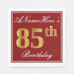 [ Thumbnail: Elegant Red, Faux Gold 85th Birthday + Custom Name Paper Napkin ]