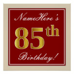 [ Thumbnail: Elegant, Red, Faux Gold 85th Birthday; Custom Name Poster ]
