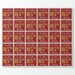 [ Thumbnail: Elegant, Red, Faux Gold 85th Birthday; Custom Name Wrapping Paper ]