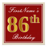 [ Thumbnail: Elegant, Red, Faux Gold 86th Birthday; Custom Name Invitation ]
