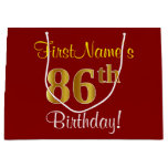 [ Thumbnail: Elegant, Red, Faux Gold 86th Birthday; Custom Name Gift Bag ]