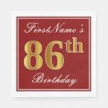 [ Thumbnail: Elegant Red, Faux Gold 86th Birthday + Custom Name Paper Napkin ]