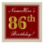 [ Thumbnail: Elegant, Red, Faux Gold 86th Birthday; Custom Name Poster ]
