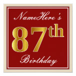 [ Thumbnail: Elegant, Red, Faux Gold 87th Birthday; Custom Name Invitation ]