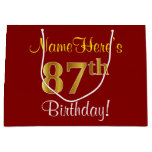 [ Thumbnail: Elegant, Red, Faux Gold 87th Birthday; Custom Name Gift Bag ]